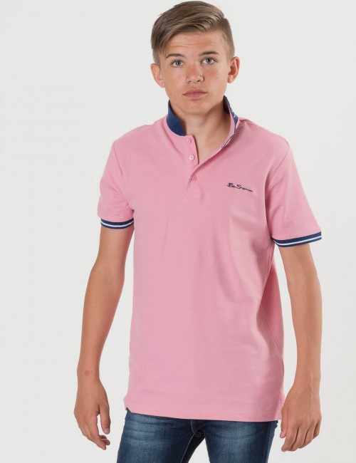 Ben Sherman Collar Print Polo Rosa Pike/Rugbytröjor till Kille