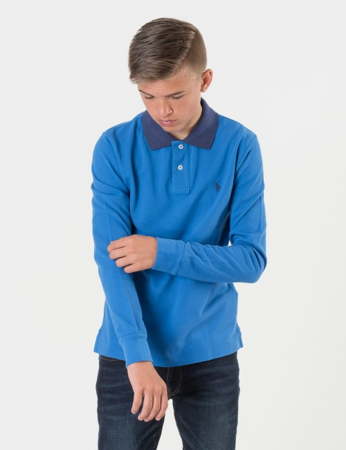 Ralph Lauren SLIM POLO Blå Pike/Rugbytröjor till Kille