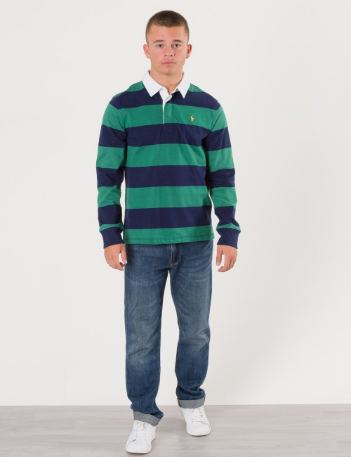 Ralph Lauren LONG SLEEVE RUGBY POLO Grön Pike/Rugbytröjor till Kille