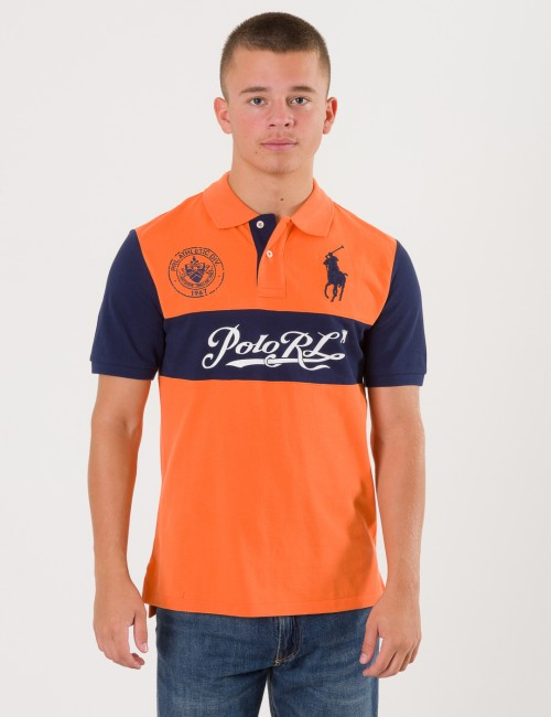 Ralph Lauren CHEST STRIPE KNIT PIKÈ Orange Pike/Rugbytröjor till Kille
