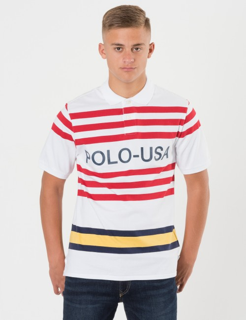 Ralph Lauren STRIPE POLO Vit Pike/Rugbytröjor till Kille