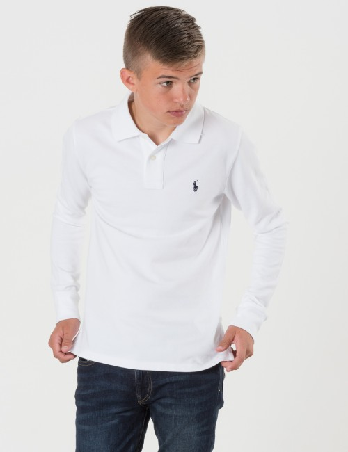 Ralph Lauren SLIM POLO Vit Pike/Rugbytröjor till Kille