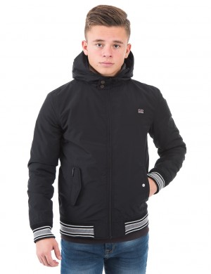 Hooded nylon harrington