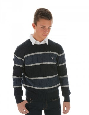 O. COTTON CABLE BLOCK STRIPE CREW