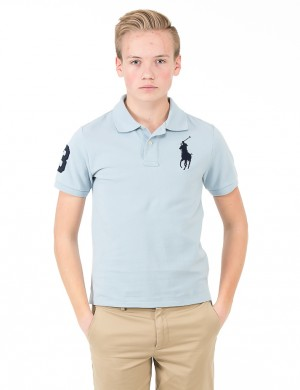 Läs mer om Ralph Lauren CUSTOM FIT BIG POLO PRINT Blå Pike/Rugbytröjor till Kille