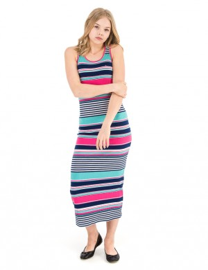 GIRLS STRIPE MAXI KNIT DRESS SLVLS