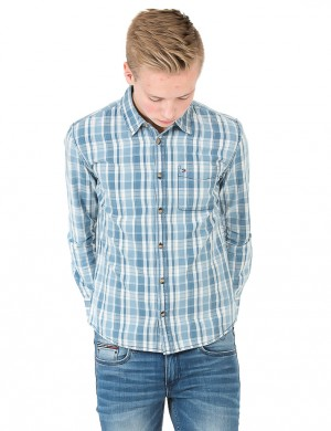 D INDIGO CHECK SHIRT LS